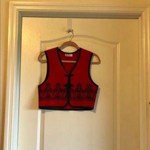 R & K Originals red and black embroidered vest